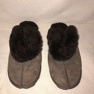 Ugg slippers fleece sherpa brown mules slip on 6.5